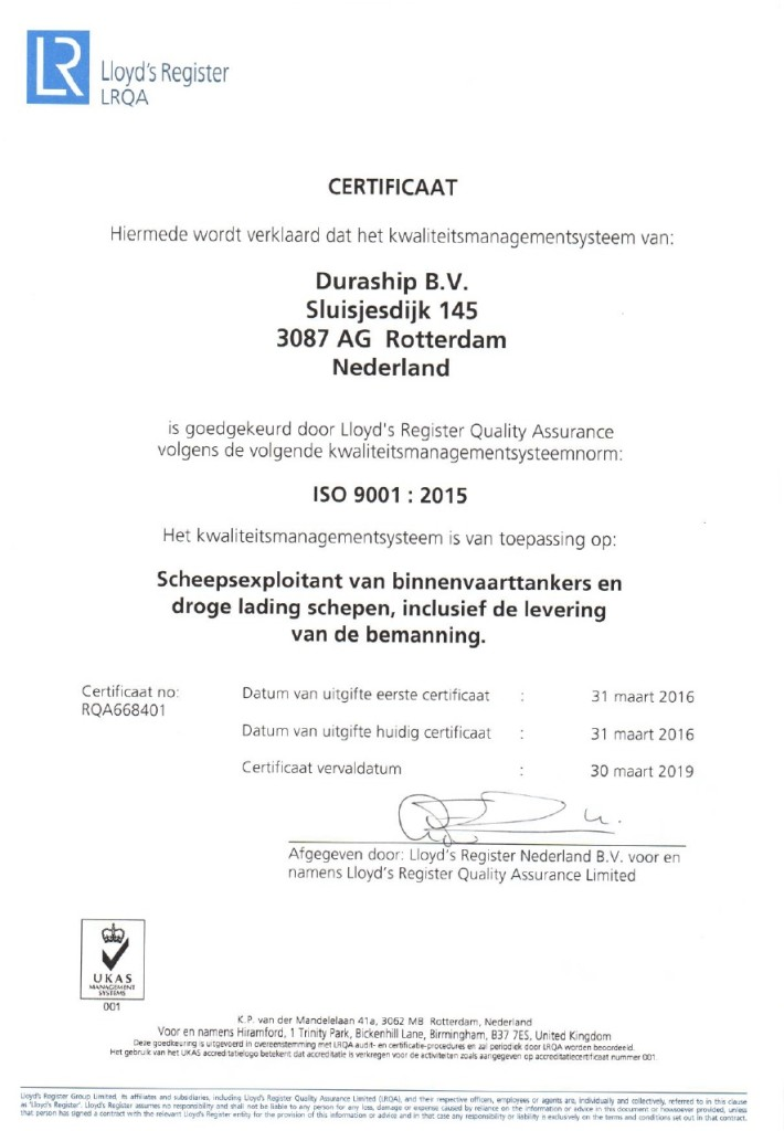 Certificaat ISO 9001;2015